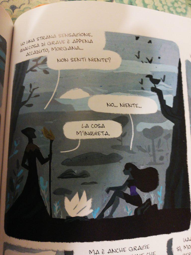 Una delle vignette magnifiche del grapich novel di Morgana che rappresenta un confronto fra Morgana e Il mago Merlino
